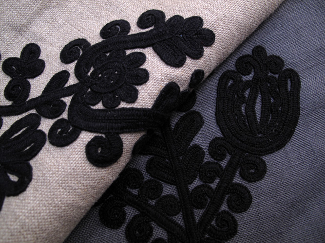 Embroidered fabric for new bags in production 2015